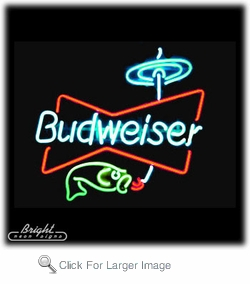 Budweiser fishing neon sign only budweiser neon for Fish neon sign