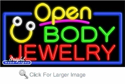 Body Jewelry Open Neon Sign