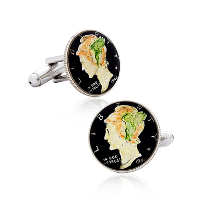 Hand Painted Liberty Dime Coin Cufflinks