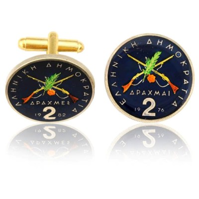 Greek Rifle Coin Cuff Links