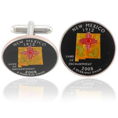 New Mexican Quarter Coin Cuff Links