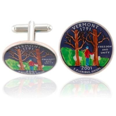 Vermonter Quarter Coin Cuff Links