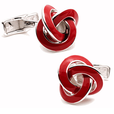 Red Enamel Knot Cufflinks