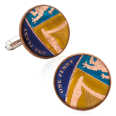 Hand Painted British One Penny Cufflinks