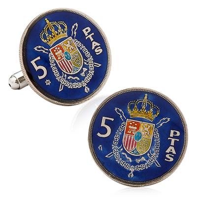 Hand Painted Spain Coin Cufflinks