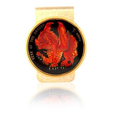 Year Of Dragon Medallion W/ Red Dragon Coin Money Clip