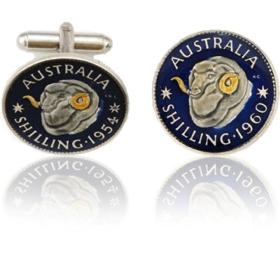 Australian Rams Head Coin Cuff Links