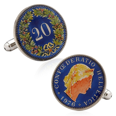 Hand Painted Switzerland Coin Cufflinks
