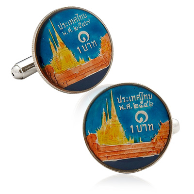 Hand Painted Thai Coin Cufflinks