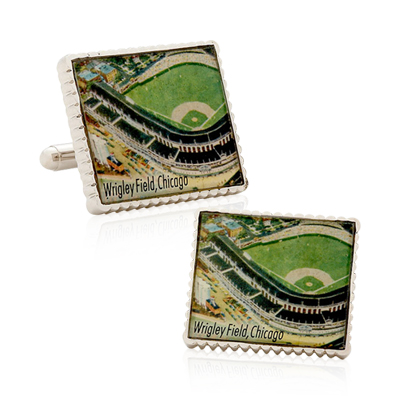 Authentic Wrigley Field Stamp Cufflinks