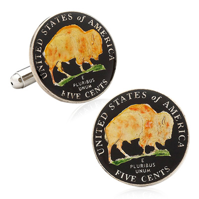 Hand Painted Usa Buffalo Nickel Coin Cufflinks