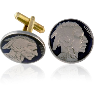 Old Buffalo Nickel Head Coin Cuff Links