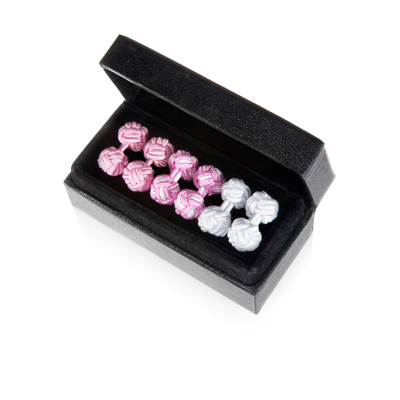 Pink & Pearl Silk Knot Cuff Links Trio
