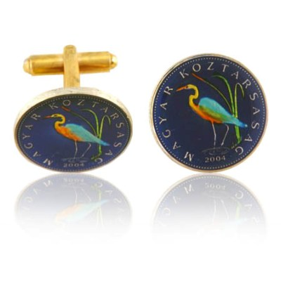 Hungary Crane Coin Cuff Links