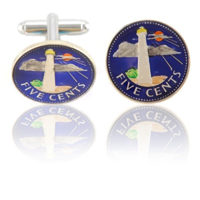 Barbadian Lighthouse Coin Cuff Links