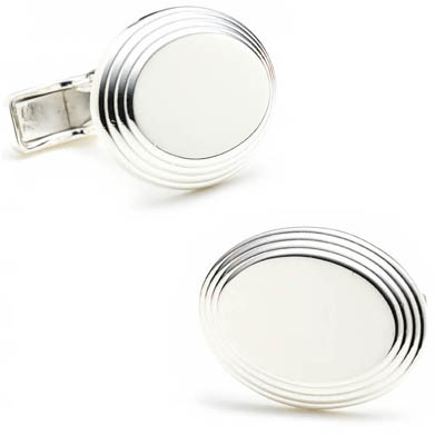 Oval Step Silver Cufflinks