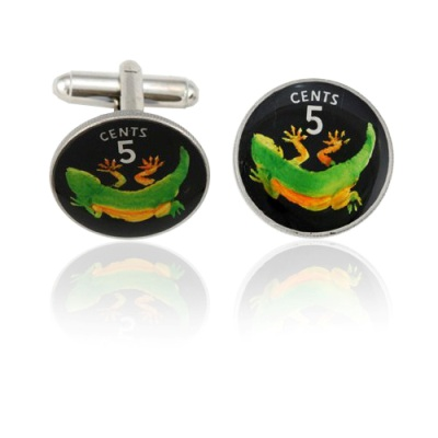 Kirabati Gecko Coin Cuff Links