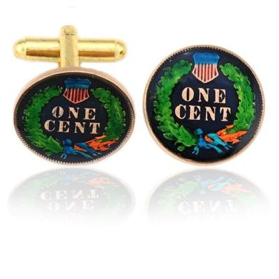 Indian Head Penny Tail Side Coin Cuff Links