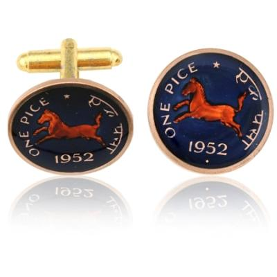 India Horse Coin Cuff Links
