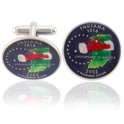 Indianian Quarter Coin Cuff Links