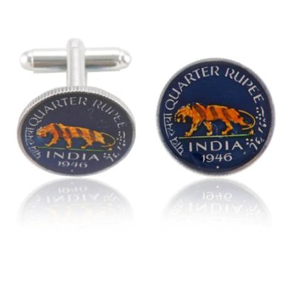 India Tiger Coin Cuff Links