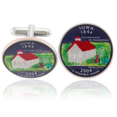 Iowan Quarter Coin Cuff Links
