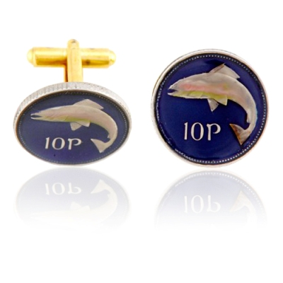Ireland 10P Fish Coin Cuff Links