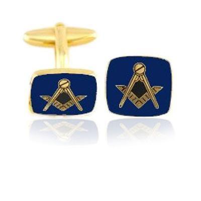 Blue Square Masonic Coin Cuff Links