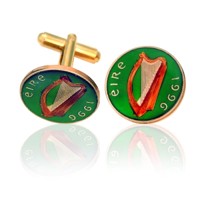 Ireland Harp Coin Cuff Links