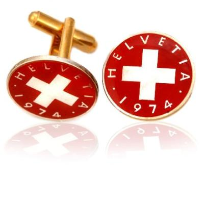 Swiss Red Cross Coin Cuff Links