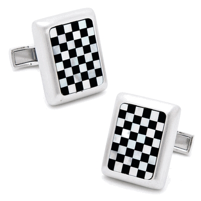 Brushed Silver & Mop/Onyx Checker Jfk Presidential Cufflinks