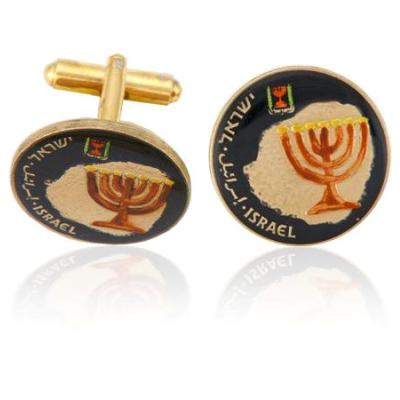 Israel Menorah On Map Coin Cuff Links
