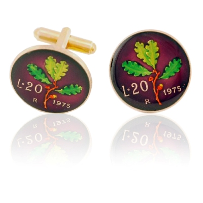 Italy Leaf Coin Cuff Links