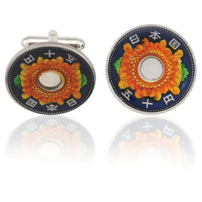 Japan 50 Yen Flower Coin Cuff Links