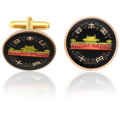 Japan Old Temple Coin Cuff Links