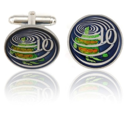 Caymanian Sea Turtle Coin Cuff Links