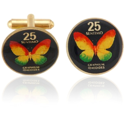 Philippines Butterfly Coin Cuff Links