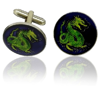 Chinese Dragon Coin Cuff Links