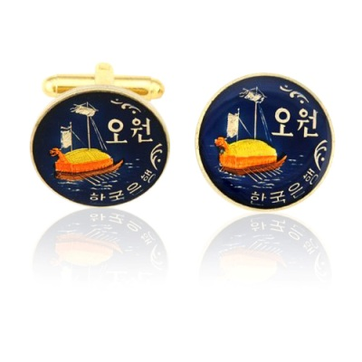 Korea Boat Coin Cuff Links