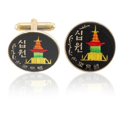 Korea Temple Coin Cuff Links