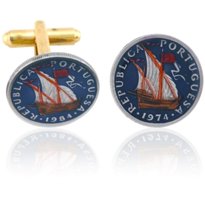 Portugal Ship Coin Cuff Links
