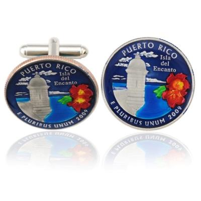 Puerto Rican Quarter Coin Cuff Links