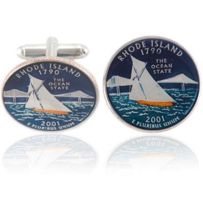 Rhode Islander Quarter Coin Cuff Links