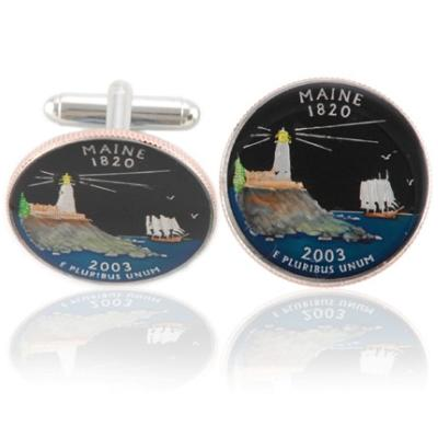 Mainer Quarter Coin Cuff Links
