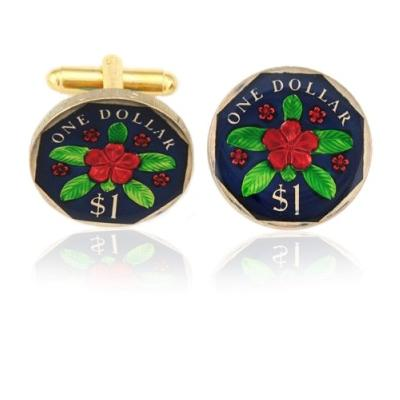 Malaysia Flower Coin Cuff Links
