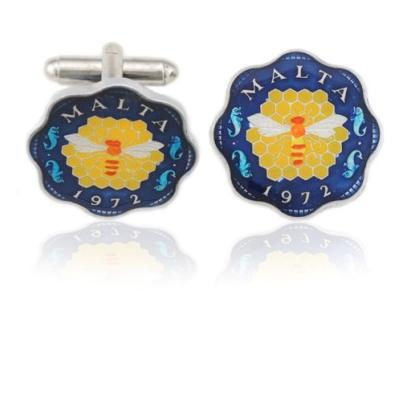 Malta Bee Coin Cuff Links