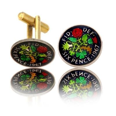 English 6 Pence Coin Cuff Links