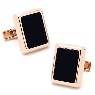 Rose Gold And Onyx Jfk Presidential Cufflinks