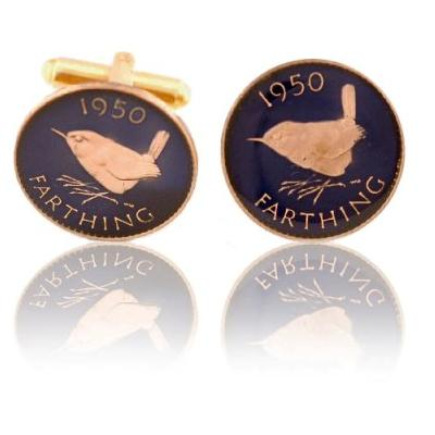English Farthing Coin In Blue
