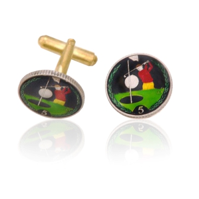 Isle Of Man Golfer Coin Cuff Links